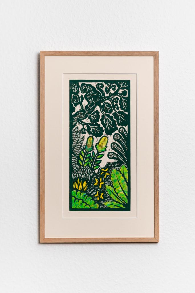 tableau collaboration Torkil gravure et mosaïque de plumes de perruche