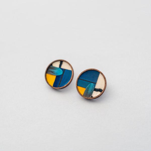 Boucles d'oreilles mosaïque de plumes