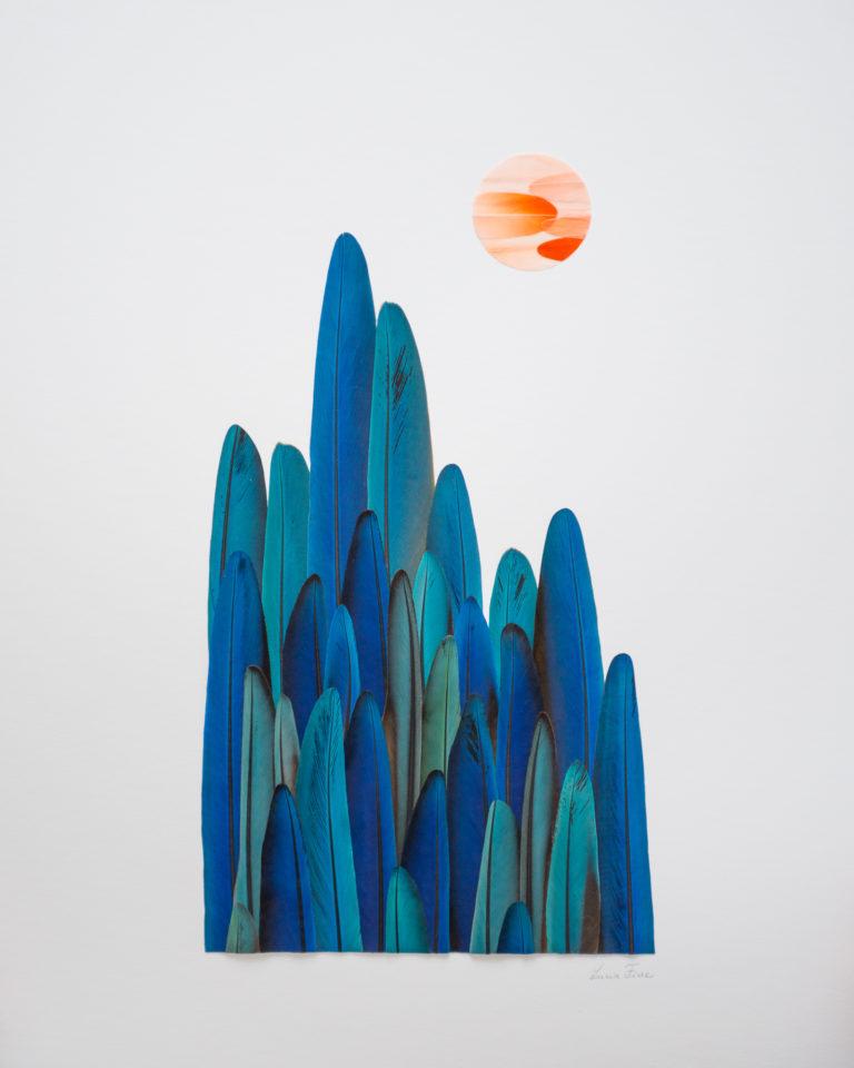 Tableau dans la série Paysage, composé de mosaïque de plumes