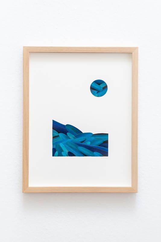 tableau paysage bleu mosaïque de plumes